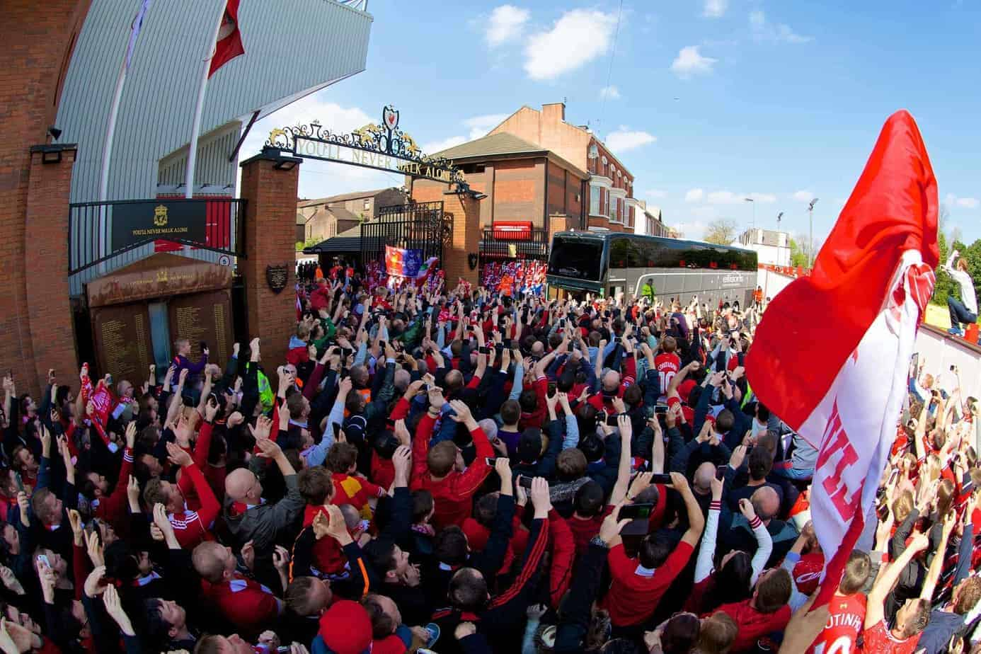 LIVERPOOL, ENGLAND - Sunday, April 27, 2014: Liverpool supporters at the Anfield Road welcome the team coach before the Premiership match against Chelsea at Anfield. (Pic by David Rawcliffe/Propaganda)