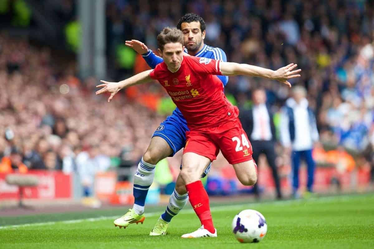 LIVERPOOL, ENGLAND - Sunday, April 27, 2014: Liverpool's Joe Allen in action against Chelsea during the Premiership match at Anfield. (Pic by David Rawcliffe/Propaganda)