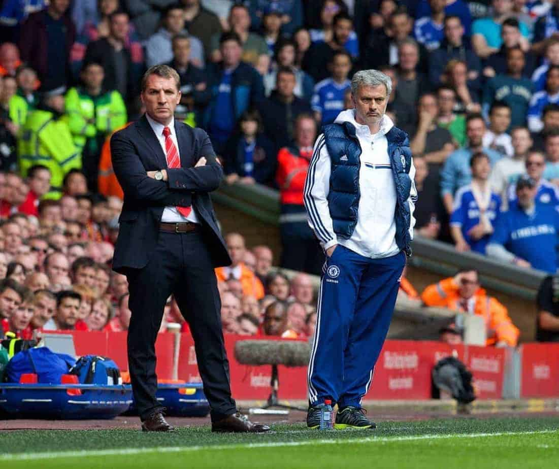 LIVERPOOL, ENGLAND - Sunday, April 27, 2014: Chelsea's manager Jose Mourinho and Liverpool's manager Brendan Rodgers during the Premiership match at Anfield. (Pic by David Rawcliffe/Propaganda)