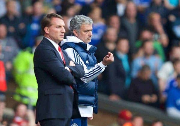 LIVERPOOL, ENGLAND - Sunday, April 27, 2014: Liverpool's manager Brendan Rodgers and Chelsea's manager Jose Mourinho during the Premiership match at Anfield. (Pic by David Rawcliffe/Propaganda)