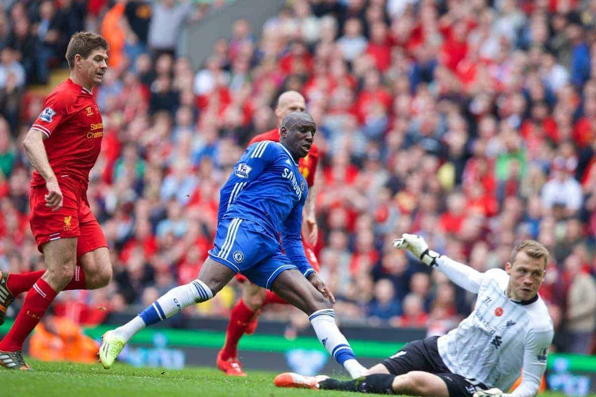 LIVERPOOL, ENGLAND - Sunday, April 27, 2014: Chelsea's Demba Ba' scores the first goal against Liverpool during the Premiership match at Anfield. (Pic by David Rawcliffe/Propaganda)