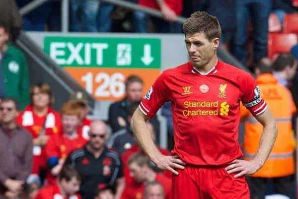 LIVERPOOL, ENGLAND - Sunday, April 27, 2014: Liverpool's captain Steven Gerrard looks dejected during the Premiership match against Chelsea against Chelsea at Anfield. (Pic by David Rawcliffe/Propaganda)