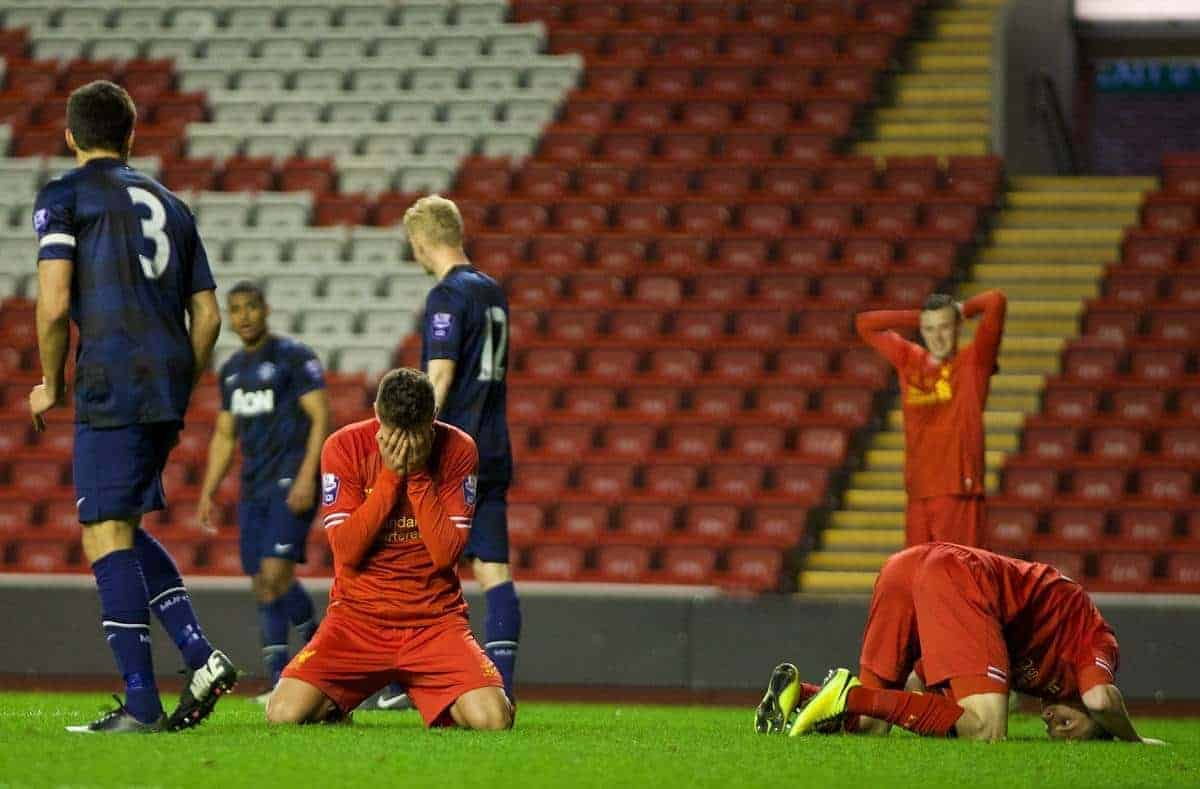 ANFIELD, ENGLAND - Friday, May 2, 2014: Liverpool's Kristoffer Peterson looks dejected after missing a late chance against Manchester United during the Under 21 FA Premier League Semi-Final match at Anfield. (Pic by David Rawcliffe/Propaganda)