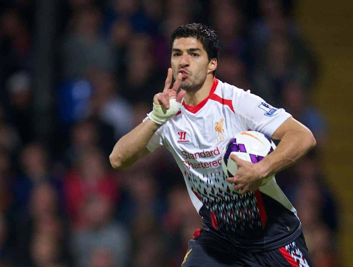 LONDON, ENGLAND - Monday, May 5, 2014: Liverpool's Luis Suarez celebrates scoring the third goal against Crystal Palace during the Premiership match at Selhurst Park. (Pic by David Rawcliffe/Propaganda)
