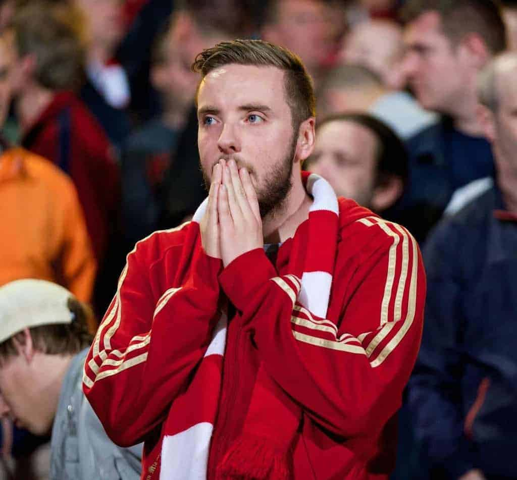 LONDON, ENGLAND - Monday, May 5, 2014: Liverpool' supporters look dejected after the 3-3 draw against Crystal Palace during the Premiership match at Selhurst Park. (Pic by David Rawcliffe/Propaganda)