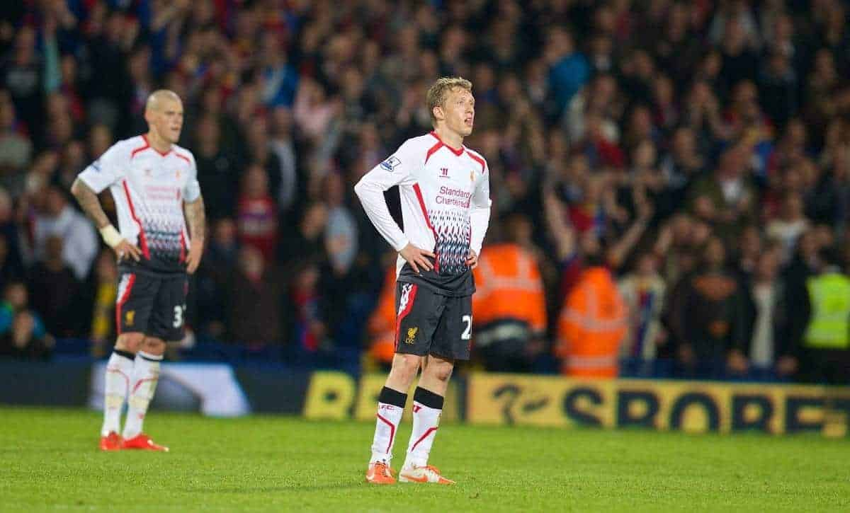 LONDON, ENGLAND - Monday, May 5, 2014: Liverpool's Lucas Leiva looks dejected looks dejected as Crystal Palace score the third goal during the Premiership match at Selhurst Park. (Pic by David Rawcliffe/Propaganda)