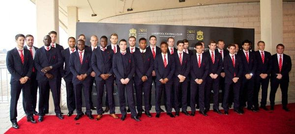 LIVERPOOL, ENGLAND - Tuesday, May 6, 2014: The Liverpool first team arrive on the red carpet for the Liverpool FC Players' Awards Dinner 2014 at the Liverpool Areaa (Pic by David Rawcliffe/Propaganda)
