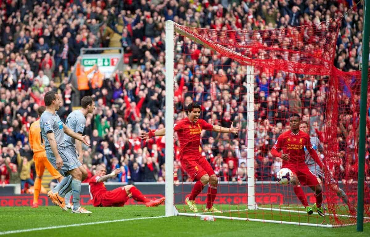 LIVERPOOL, ENGLAND - Sunday, May 11, 2014: Liverpool's Daniel Sturridge and Luis Suarez celebrates the second goal against Newcastle United, scored by Sturridge, during the Premiership match at Anfield. (Pic by David Rawcliffe/Propaganda)