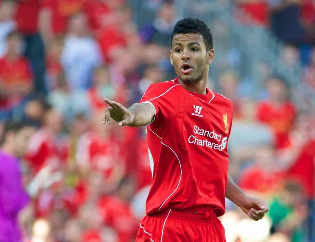 COPENHAGEN, DENMARK - Wednesday, July 16, 2014: Liverpool's Kevin Stewart makes his debut against Brondby IF during a preseason friendly match at Brøndby Stadion. (Pic by David Rawcliffe/Propaganda)