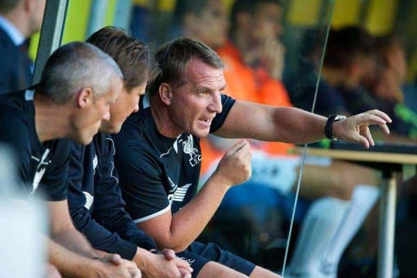 COPENHAGEN, DENMARK - Wednesday, July 16, 2014: Liverpool's manager Brendan Rodgers against Brondby IF during a preseason friendly match at Brøndby Stadion. (Pic by David Rawcliffe/Propaganda)