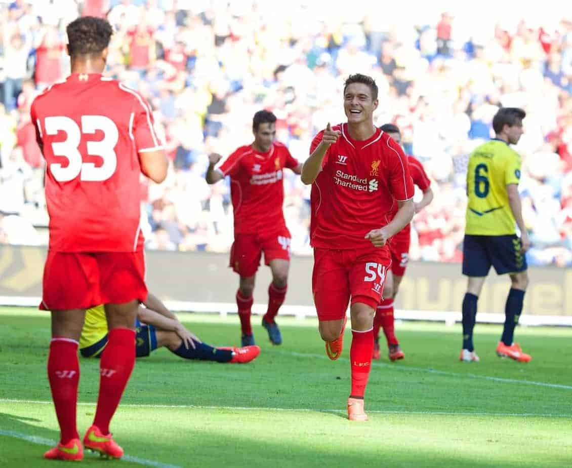 COPENHAGEN, DENMARK - Wednesday, July 16, 2014: Liverpool's Kristoffer Pieterson celebrates scoring the first goal against Brondby IF during a preseason friendly match at Brøndby Stadion. (Pic by David Rawcliffe/Propaganda)