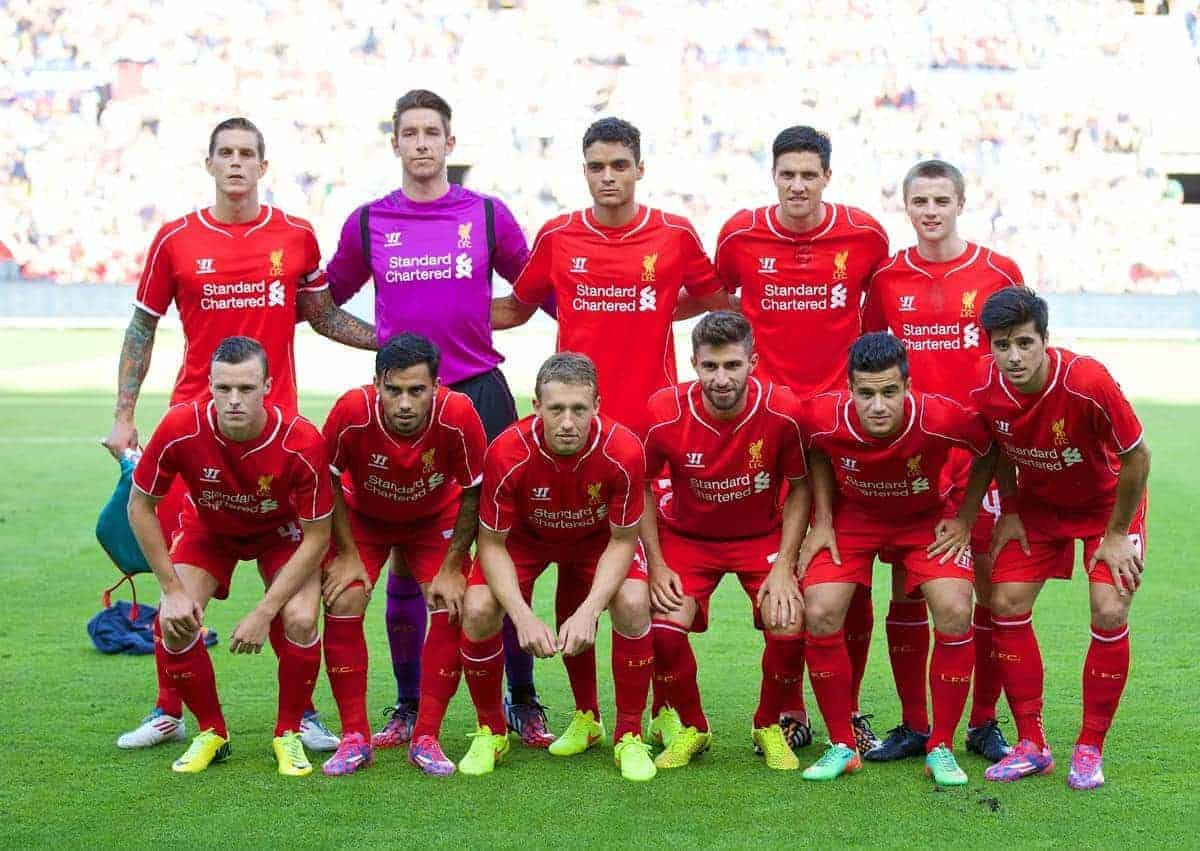 COPENHAGEN, DENMARK - Wednesday, July 16, 2014: Liverpool's players line up for a team group photograph before a preseason friendly match against Brøndby IF at Brøndby Stadion. Back row L-R: Daniel Agger, goalkeeper Brad Jones, Tiago Ilori, Martin Kelly, Jordan Rossiter. Front row L-R: Brad Smith, 'Suso' Jesus Joaquin Fernandez Saenz De La Torre, Lucas Leiva, Fabio Borini, Philippe Coutinho Correia, Joao Carlos Teixeira. (Pic by David Rawcliffe/Propaganda)