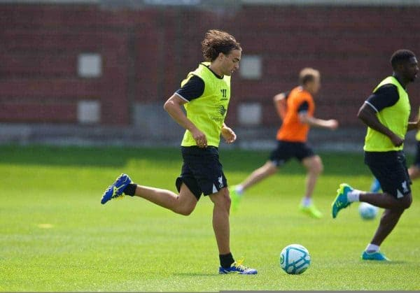 Liverpool's Lazar Markovic during a preseason training session at the Harvard Stadium in Boston on day one of their USA Tour. (Pic by David Rawcliffe/Propaganda)