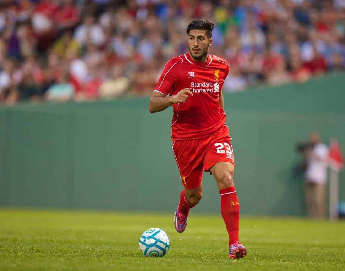BOSTON, USA - Wednesday, July 23, 2014: Liverpool's Emre Can in action against AS Roma at Fenway Park on day three of the club's USA Tour. (Pic by David Rawcliffe/Propaganda)