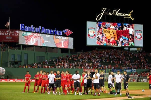 BOSTON, USA - Wednesday, July 23, 2014: Liverpool players look dejected after losing 1-0 to AS Roma at Fenway Park on day three of the club's USA Tour. (Pic by David Rawcliffe/Propaganda)