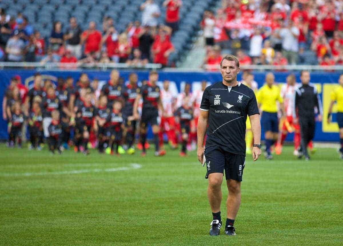 CHICAGO, USA - Sunday, July 27, 2014: Liverpool's manager Brendan Rodgers during the International Champions Cup Group B match against Olympiacos at the Soldier Field Stadium on day seven of the club's USA Tour. (Pic by David Rawcliffe/Propaganda)