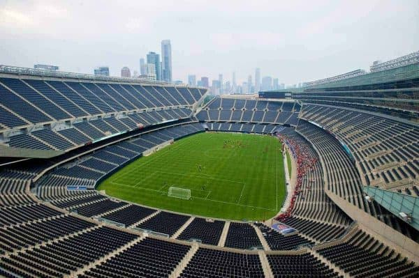 CHICAGO, USA - Saturday, July 26, 2014: Liverpool players during a preseason training session at the Soldier Field Stadium in Chicago on day six of the club's USA Tour. (Pic by David Rawcliffe/Propaganda)