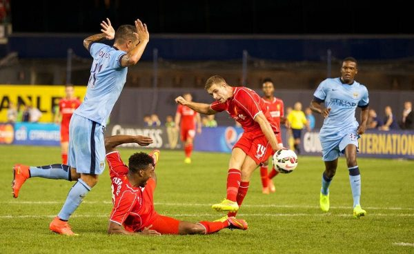 NEW YORK, USA - Wednesday, July 30, 2014: Liverpool's Jordan Henderson scores the first goal against Manchester City during the International Champions Cup Group B match at the Yankee Stadium on day ten of the club's USA Tour. (Pic by David Rawcliffe/Propaganda)