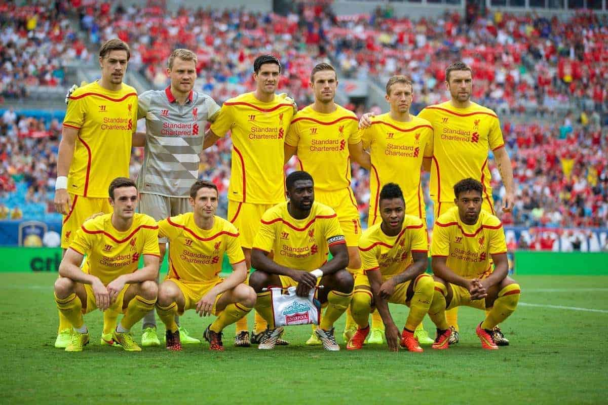 CHARLOTTE, USA - Saturday, August 2, 2014: Liverpool's players line up for a team group photograph before the International Champions Cup Group B match against AC Milan at the Bank of America Stadium on day thirteen of the club's USA Tour. Back row L-R: Sebastian Coates, goalkeeper Simon Mignolet, Martin Kelly, Jordan Henderson, Lucas Leiva, Rickie Lambert. Front row L-R: Jack Robinson, Joe Allen, Kolo Toure, Raheem Sterling, Jordon Ibe. (Pic by David Rawcliffe/Propaganda)