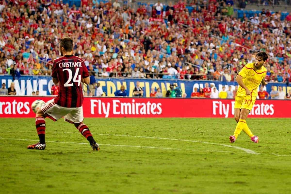 CHARLOTTE, USA - Saturday, August 2, 2014: Liverpool's 'Suso' Jesus Joaquin Fernandez Saenz De La Torre scores the second goal against AC Milan during the International Champions Cup Group B match at the Bank of America Stadium on day thirteen of the club's USA Tour. (Pic by David Rawcliffe/Propaganda)