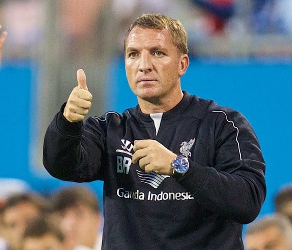 CHARLOTTE, USA - Saturday, August 2, 2014: Liverpool's manager Brendan Rodgers against AC Milan during the International Champions Cup Group B match at the Bank of America Stadium on day thirteen of the club's USA Tour. (Pic by David Rawcliffe/Propaganda)