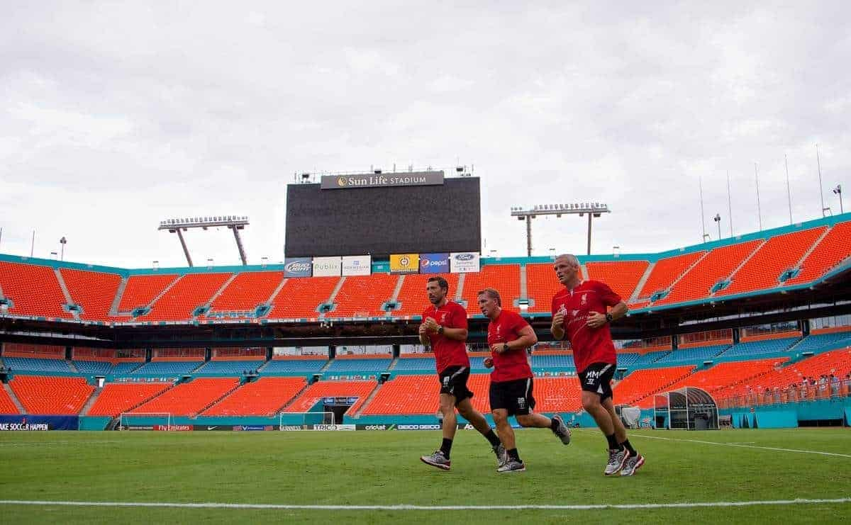 MIAMI, USA - Sunday, August 3, 2014: Liverpool's manager Brendan Rodgers training with head of fitness and science Ryland Morgans and first team coach Mike Marsh at the SunLife Stadium in Miami ahead of the International Champions Cup Final match against Manchester United on day fourteen of the club's USA Tour. (Pic by David Rawcliffe/Propaganda)