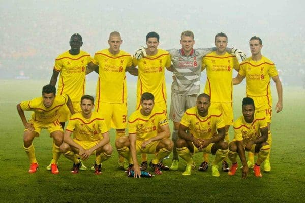 MIAMI, USA - Monday, August 4, 2014: Liverpool's players line up for a team group photograph before the International Champions Cup Final match against Manchester United at the SunLife Stadium on day fifteen of the club's USA Tour. Back row L-R: Mamadou Sakho, Martin Skrtel, Martin Kelly, goalkeeper Simon Mignolet, Rickie Lambert, Jordan Henderson. Front row L-R: Philippe Coutinho Correia, Joe Allen, captain Steven Gerrard, Jose Enrique, Raheem Sterling. (Pic by David Rawcliffe/Propaganda)