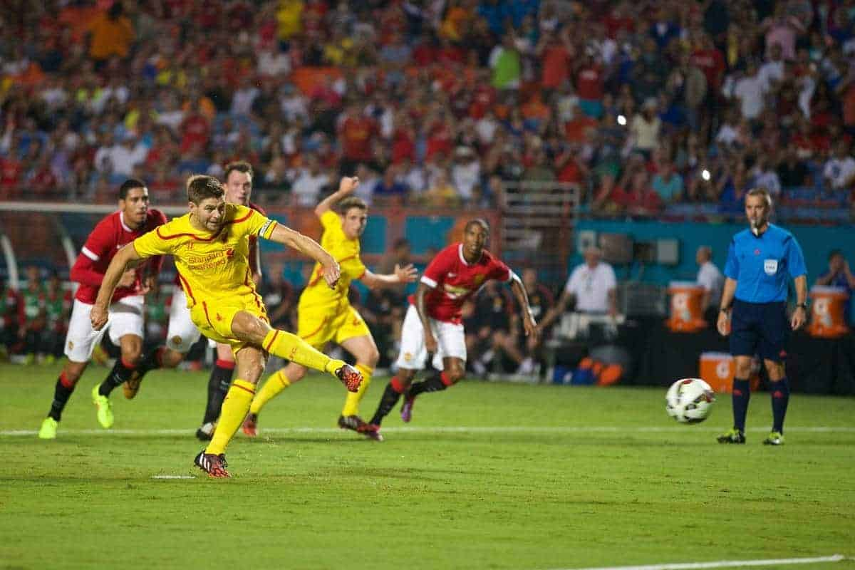 MIAMI, USA - Monday, August 4, 2014: Liverpool's captain Steven Gerrard scores the first goal against Manchester United from the penalty spot during the International Champions Cup Final match at the SunLife Stadium on day fifteen of the club's USA Tour. (Pic by David Rawcliffe/Propaganda)