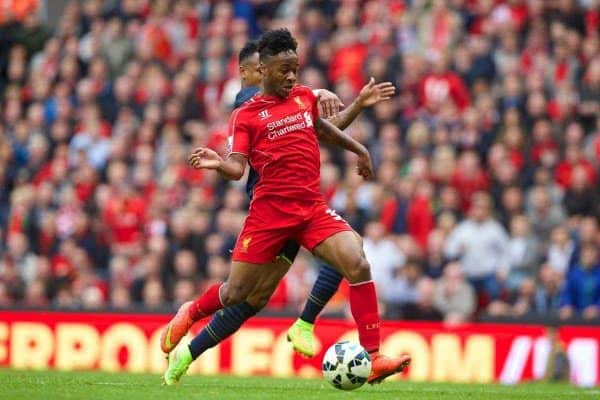 LIVERPOOL, ENGLAND - Sunday, August 17, 2014: Liverpool's Raheem Sterling scores the first goal against Southampton during the Premier League match at Anfield. (Pic by David Rawcliffe/Propaganda)