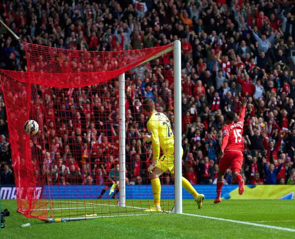 LIVERPOOL, ENGLAND - Sunday, August 17, 2014: Liverpool's Daniel Sturridge celebrates scoring the second goal against Southampton during the Premier League match at Anfield. (Pic by David Rawcliffe/Propaganda)
