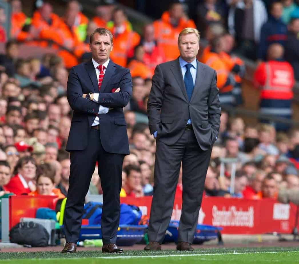 LIVERPOOL, ENGLAND - Sunday, August 17, 2014: Liverpool's manager Brendan Rodgers and Southampton's manager Ronald Koeman during the Premier League match at Anfield. (Pic by David Rawcliffe/Propaganda)