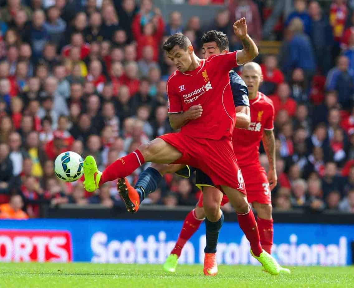 LIVERPOOL, ENGLAND - Sunday, August 17, 2014: Liverpool's Dejan Lovren in action against Southampton during the Premier League match at Anfield. (Pic by David Rawcliffe/Propaganda)