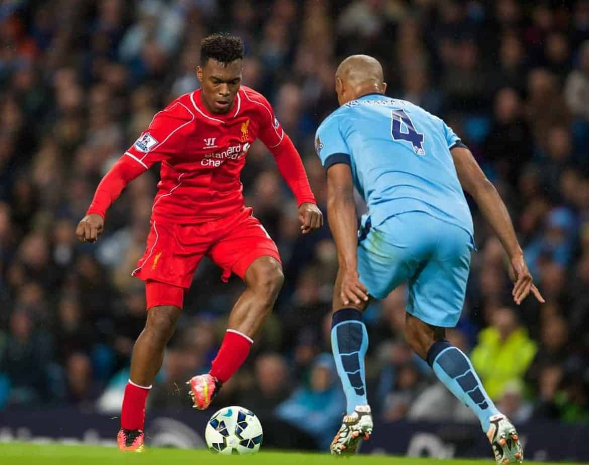 MANCHESTER, ENGLAND - Monday, August 25, 2014: Liverpool's Daniel Sturridge in action against Manchester City during the Premier League match at the City of Manchester Stadium. (Pic by David Rawcliffe/Propaganda)