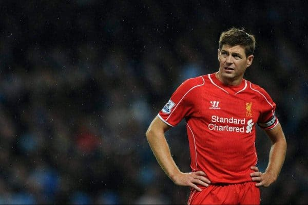 MANCHESTER, ENGLAND - Monday, August 25, 2014: Liverpool's Steven Gerrard looks dejected during the Premier League match at the City of Manchester Stadium. (Pic by Chris Brunskill/Propaganda)