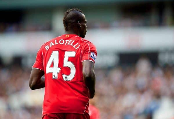 Liverpool's Mario Balotelli in action against Tottenham Hotspur during the Premier League match at White Hart Lane. (Pic by David Rawcliffe/Propaganda)