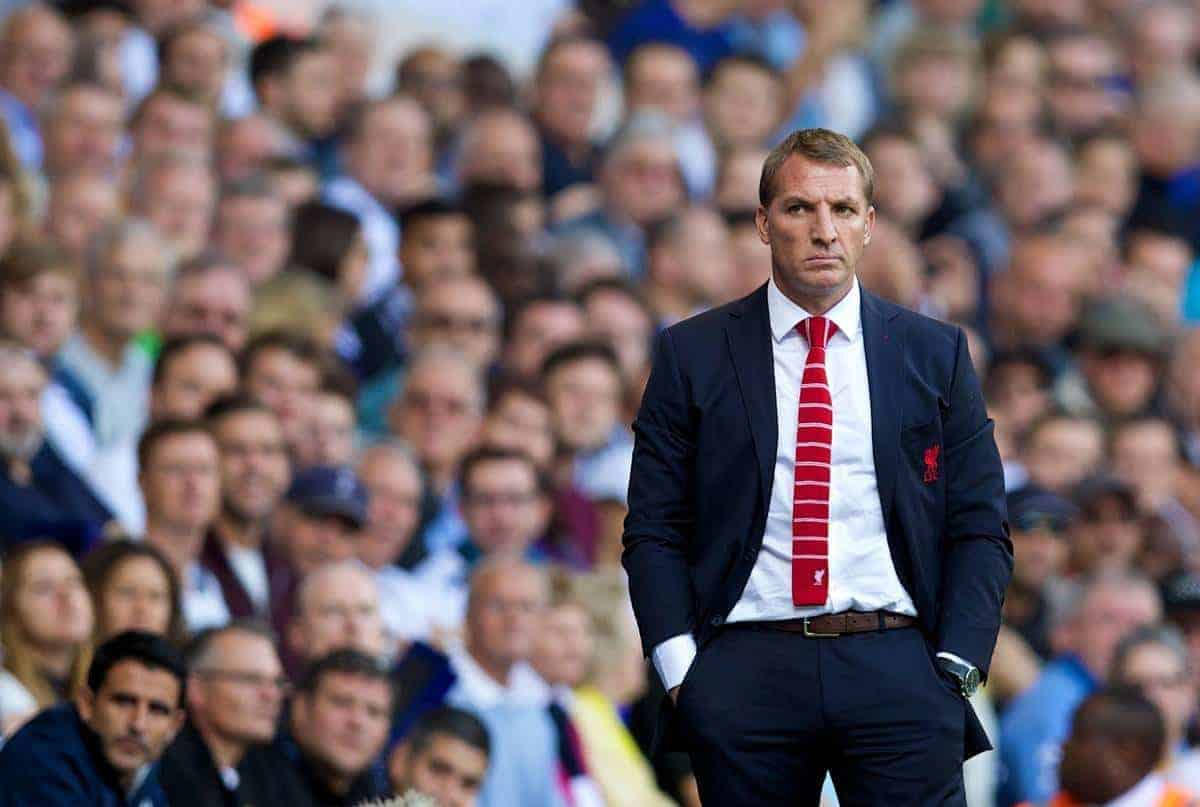 LONDON, ENGLAND - Sunday, August 31, 2014: Liverpool's manager Brendan Rodgers against Tottenham Hotspur during the Premier League match at White Hart Lane. (Pic by David Rawcliffe/Propaganda)