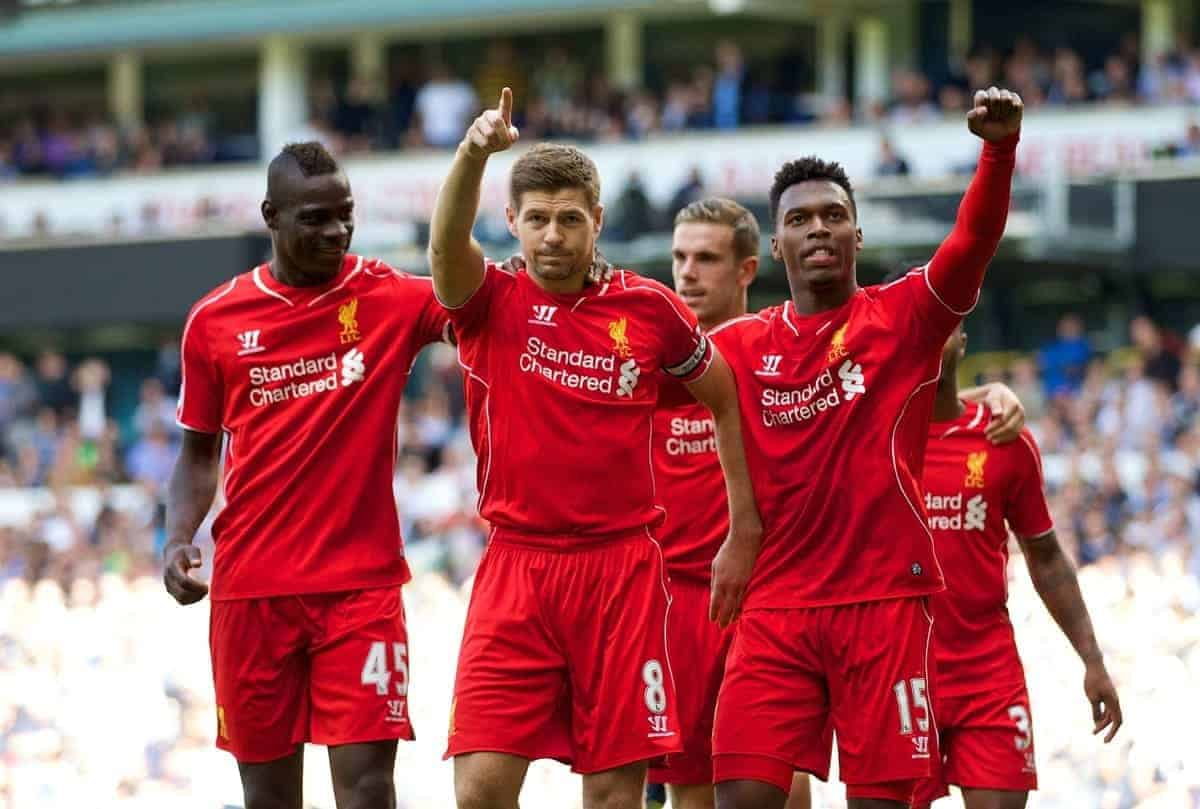 LONDON, ENGLAND - Sunday, August 31, 2014: Liverpool's captain Steven Gerrard celebrates scoring the second goal against Tottenham Hotspur from the penalty spot with team-mates Daniel Sturridge and Mario Balotelli during the Premier League match at White Hart Lane. (Pic by David Rawcliffe/Propaganda)