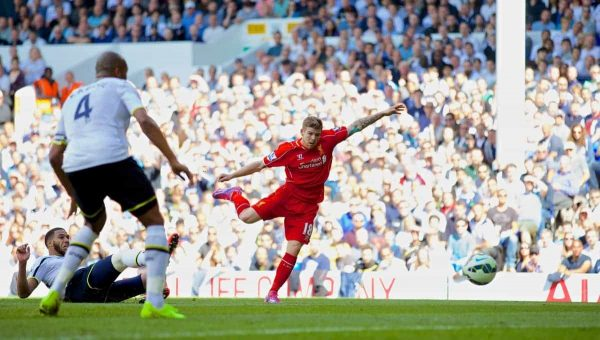 LONDON, ENGLAND - Sunday, August 31, 2014: Liverpool's Alberto Moreno scores the third goal against Tottenham Hotspur during the Premier League match at White Hart Lane. (Pic by David Rawcliffe/Propaganda)