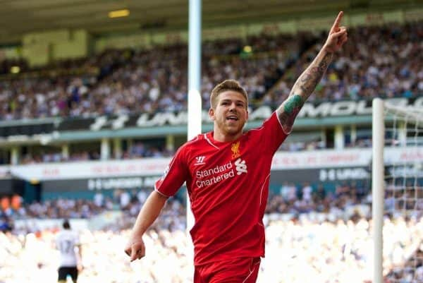 LONDON, ENGLAND - Sunday, August 31, 2014: Liverpool's Alberto Moreno celebrates scoring the third goal against Tottenham Hotspur during the Premier League match at White Hart Lane. (Pic by David Rawcliffe/Propaganda)