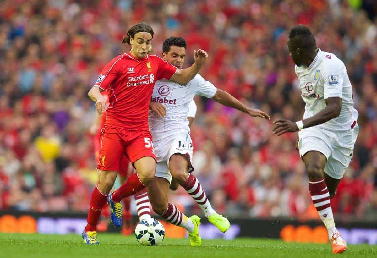 LIVERPOOL, ENGLAND - Saturday, September 13, 2014: Liverpool's Lazar Markovic in action against Aston Villa during the Premier League match at Anfield. (Pic by David Rawcliffe/Propaganda)