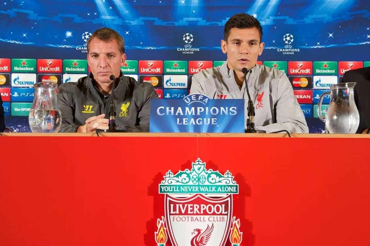 LIVERPOOL, ENGLAND - Monday, September 15, 2014: Liverpool's manager Brendan Rodgers and Dejan Lovren during a press conference at Anfield ahead of their opening UEFA Champions League Group B match against PFC Ludogorets Razgrad. (Pic by David Rawcliffe/Propaganda)