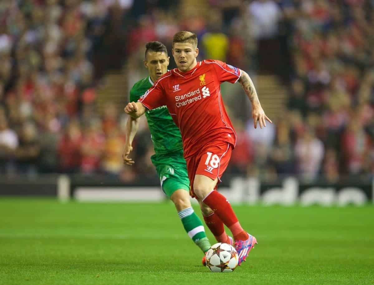 LIVERPOOL, ENGLAND - Tuesday, September 16, 2014: Liverpool's Alberto Moreno in action against PFC Ludogorets Razgrad during the UEFA Champions League Group B match at Anfield. (Pic by David Rawcliffe/Propaganda)