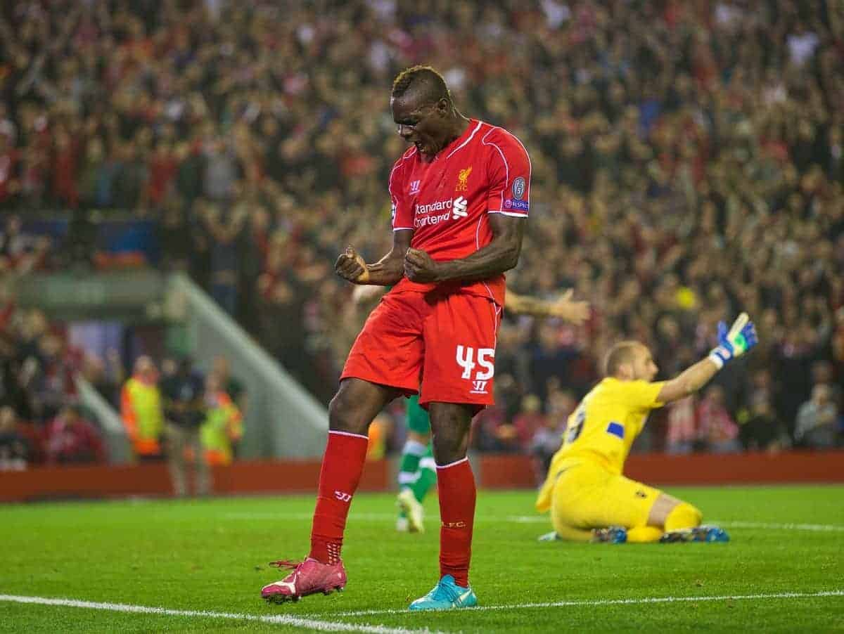 LIVERPOOL, ENGLAND - Tuesday, September 16, 2014: Liverpool's Mario Balotelli scores the first goal against PFC Ludogorets Razgrad during the UEFA Champions League Group B match at Anfield. (Pic by David Rawcliffe/Propaganda)