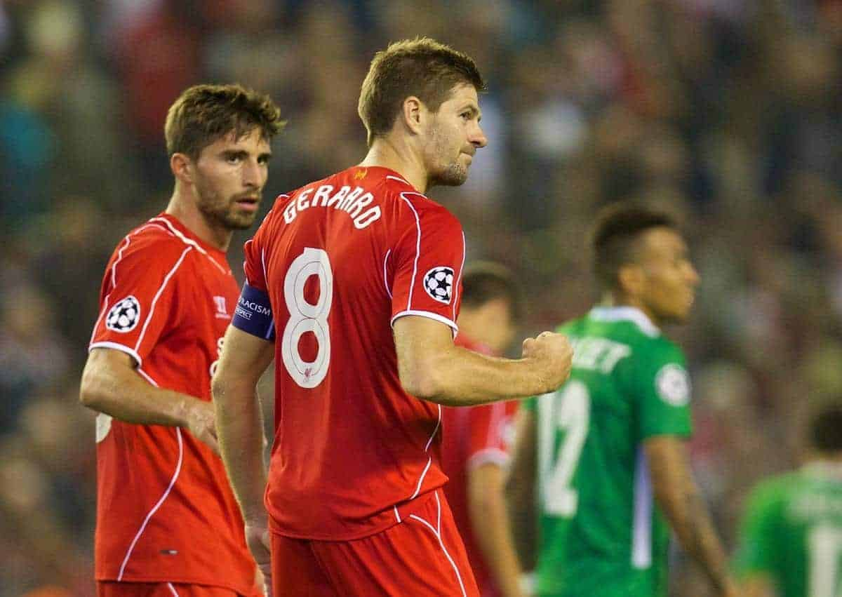 LIVERPOOL, ENGLAND - Tuesday, September 16, 2014: Liverpool's captain Steven Gerrard celebrates scoring the second goal after his injury time penalty sealed a 2-1 victory over PFC Ludogorets Razgrad during the UEFA Champions League Group B match at Anfield. (Pic by David Rawcliffe/Propaganda)