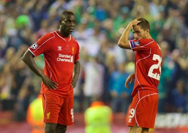 LIVERPOOL, ENGLAND - Tuesday, September 16, 2014: Liverpool's Mario Balotelli and Fabio Borini looks dejected as PFC Ludogorets Razgrad score a late equalising goal during the UEFA Champions League Group B match at Anfield. (Pic by David Rawcliffe/Propaganda)