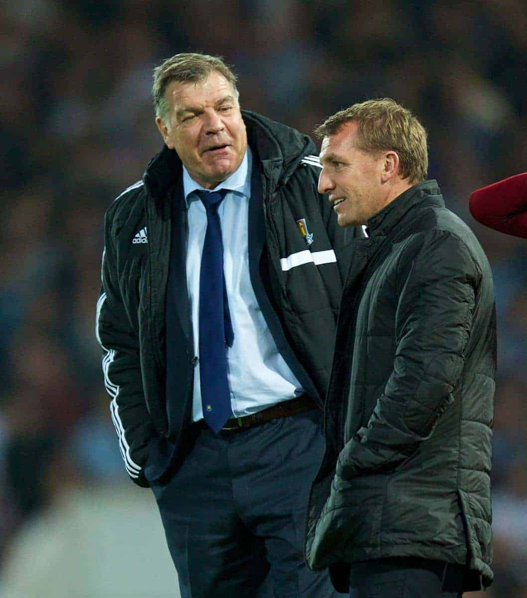 LONDON, ENGLAND - Saturday, September 20, 2014: Liverpool's manager Brendan Rodgers and West Ham United's manager Sam Allardyce during the Premier League match at Upton Park. (Pic by David Rawcliffe/Propaganda)