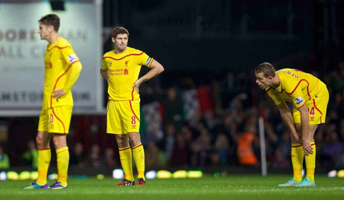 LONDON, ENGLAND - Saturday, September 20, 2014: Liverpool's captain Steven Gerrard looks dejected as West Ham United score the third goal during the Premier League match at Upton Park. (Pic by David Rawcliffe/Propaganda)