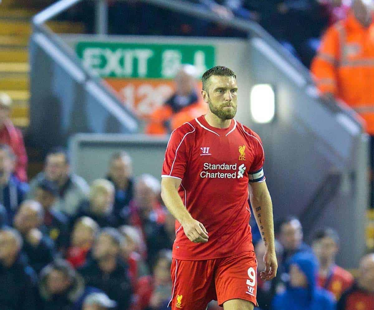 LIVERPOOL, ENGLAND - Tuesday, September 23, 2014: Heading for an exit? Liverpool's Rickie Lambert looks dejected as Middlesbrough score an equalising goal during the Football League Cup 3rd Round match at Anfield. (Pic by David Rawcliffe/Propaganda)