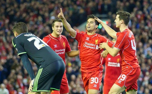 LIVERPOOL, ENGLAND - Tuesday, September 23, 2014: Liverpool's 'Suso' Jesus Joaquin Fernandez Saenz De La Torre celebrates scoring the second goal against Middlesbrough during the Football League Cup 3rd Round match at Anfield. (Pic by David Rawcliffe/Propaganda)