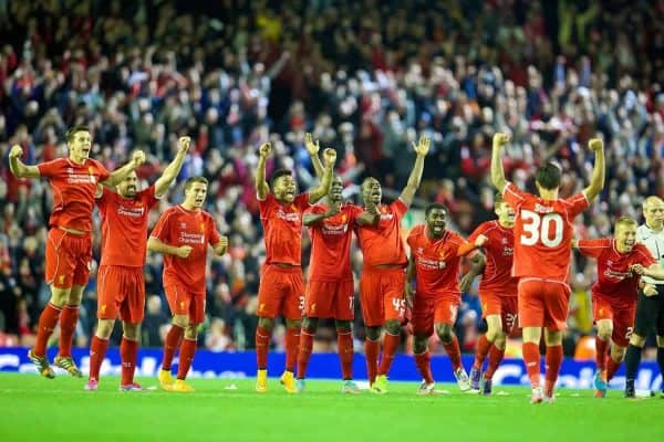 LIVERPOOL, ENGLAND - Tuesday, September 23, 2014: Liverpool players celebrate after winning the penalty shoot-out against Middlesbrough following a 2-2 draw during the Football League Cup 3rd Round match at Anfield. (Pic by David Rawcliffe/Propaganda)